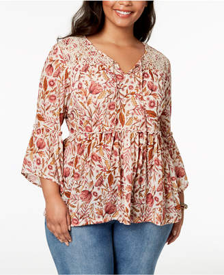 Style&Co. Style & Co Plus Size Printed Bell-Sleeve Peasant Top, Created for Macy's