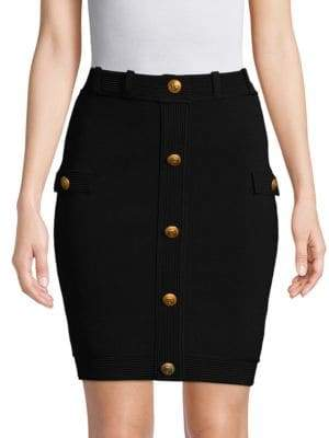 Pierre Balmain Ribbed Pull-On Mini Skirt