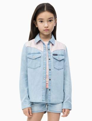 Calvin Klein Girls Colorblock Western Denim Shirt