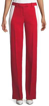 Michael Kors Mid-Rise Double-Crepe Sable Straight-Leg Track Pants