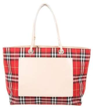 Burberry Leather-Trimmed Nylon Tote