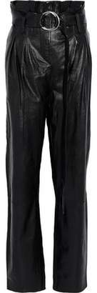 IRO Belted Pleated Textured-Leather Straight-Leg Pants