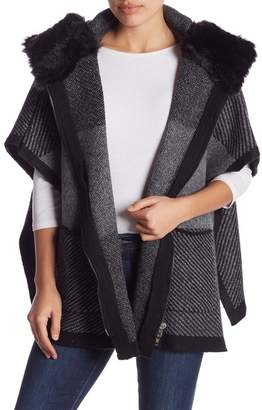 Steve Madden Faux Fur Hood Knit Poncho