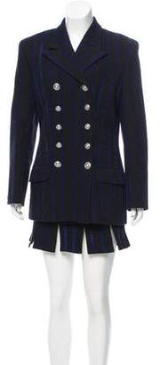 Versace Striped Wool Skirt Suit