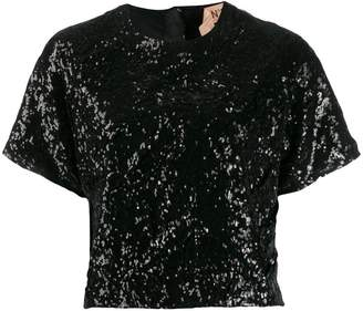 No.21 cropped sequinned T-shirt