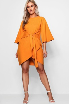 ca8b345321ab boohoo Plus Kimono Sleeve Tie Waist Wrap Dress