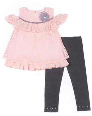 Little Lass Cold Shoulder Chevron Textured Blouse & Leggings, 2-Piece Outfit Set (Baby Girls & Toddler Girls)