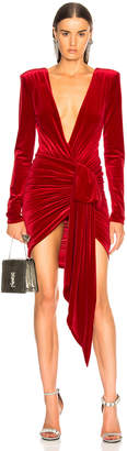 Alexandre Vauthier Velvet Wrap Mini Dress