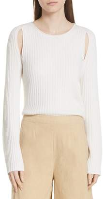 Vince Shoulder Slit Cashmere Crewneck Sweater