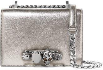 Alexander McQueen Crystal-embellished Textured-leather Shoulder Bag - Silver