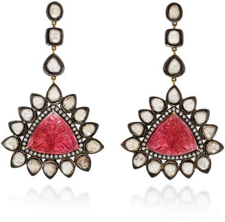 Amrapali 14K Gold Tourmaline And Diamond Earrings