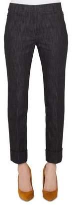 Akris Straight-Leg Cropped Cuffed Denim Pants