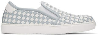 Bottega Veneta Blue and White Intrecciato Slip-On Sneakers