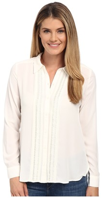 NYDJ Pintuck Tuxedo Blouse $118 thestylecure.com