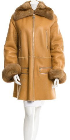 Fendi Sable-Trimmed Shearling Coat