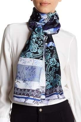 Max Studio Mixed Patchwork Oblong Print Silk Scarf
