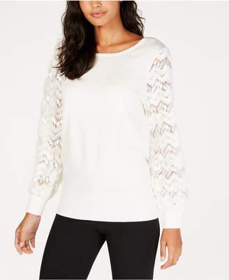 Alfani Embellished Mesh-Sleeve Sweater