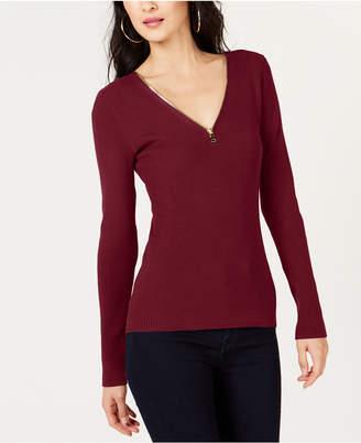 INC International Concepts I.n.c. Petite Zipper Detail Pullover Sweater