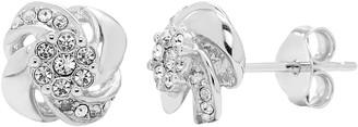 Diamond Splendor Sterling Silver Crystal Swirl Stud Earrings