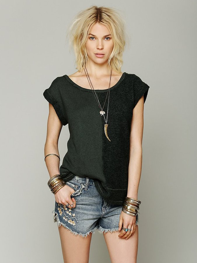 Free People Rolled Sleeve Tonal Pullover