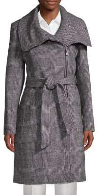 Classic Self-Tie Plaid Coat