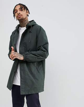 Asos DESIGN hooded light weight parka in forest green