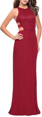 La Femme Cutout Embellished Jersey Gown
