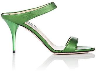 Prada Women's Leather Double-Band Mules - Green