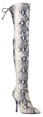 Stuart Weitzman Arla Thigh-High Snake-Print Boots