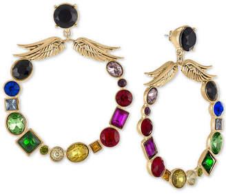 Rachel Roy Gold-Tone Crystal Winged X-Large Drop Hoop Earrings