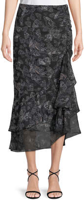 Max Studio Gathered-Ruffle Butterfly-Print Maxi Skirt