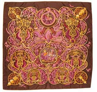 Hermes La Charmante Aux Animaux Silk Scarf