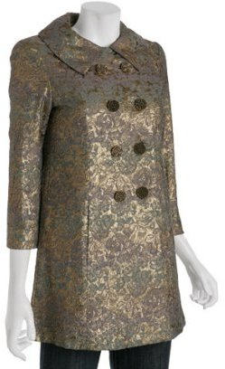 Nanette Lepore gold floral brocade '24 Karat' double breasted coat