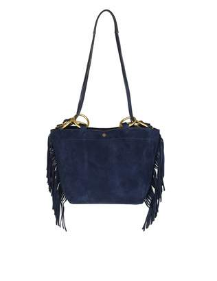 Tory Burch farrah Fringe Small Tote Shoulder Bag In Suede Color Blue