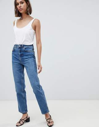 Asos (エイソス) - ASOS DESIGN Farleigh high waist straight leg jeans in dark stone wash