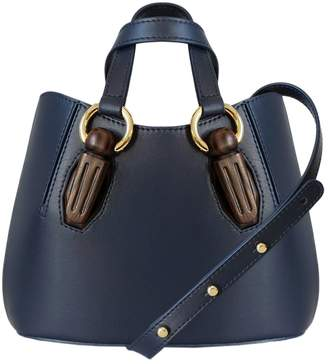 AEVHA London - Mini Garnet Tote In Navy With Wooden Hardware