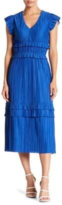 Taylor Pleated Cap Sleeve Midi Dress