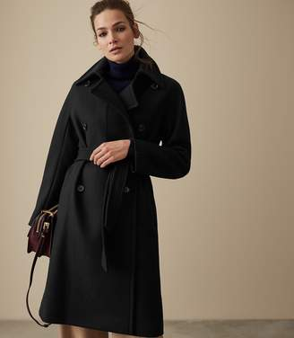Reiss EILISH DOUBLE BREASTED COAT Black