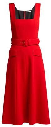 Emilia Wickstead Petra Panelled Wool Crepe Midi Dress - Womens - Red