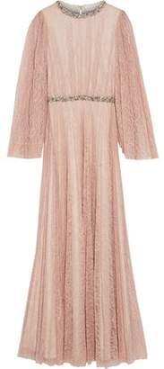 Sachin + Babi Sequin-Trimmed Pleated Chantilly Lace Maxi Dress