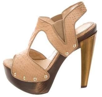 Fendi Embossed T-Strap Sandals