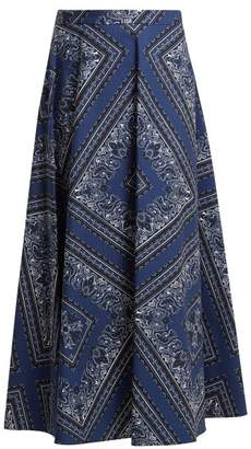 RED Valentino Bandana Print Cotton Skirt - Womens - Blue Multi