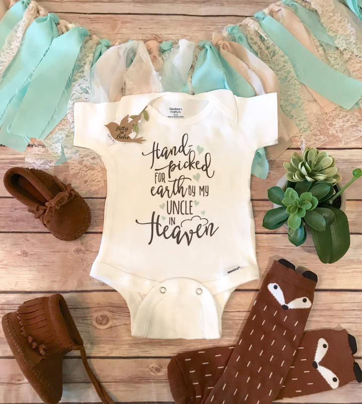 Etsy Uncle Memorial Onesie®, Cute Baby Onesie, Uncle Onesie, Unisex Baby Clothes, Hand picked for earth b