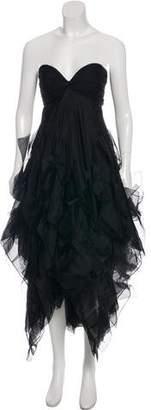 Oscar de la Renta Ruffle-Accented Strapless Maxi Dress