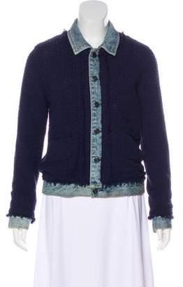 Maison Scotch Denim-Trimmed Knit Jacket