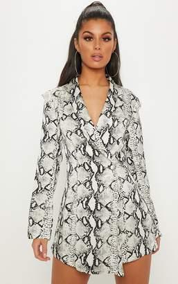 PrettyLittleThing White Snake Print Woven Blazer Playsuit