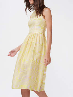 Halston Striped Organza Fit & Flare Dress