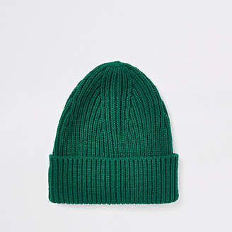 River Island Green fisherman knit beanie hat