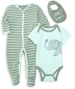 Baby Boy's Three-Piece Bodysuit, Footie & Bib Set