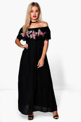 boohoo Plus Rosie Embroidered Frill Maxi Dress $52 thestylecure.com